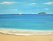 Puerto Rico Paintings - Sailing from Desecheo by Maureen Schmidt