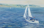Marine Painting Posters - Sailing Home Poster by Antonia Myatt