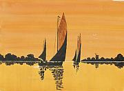 Riverbank Mixed Media Posters - Sailing Home Poster by David Bishop