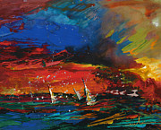 Sports Art Paintings - Sailing Impression 03 by Miki De Goodaboom