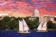 Madison Framed Prints - Sailing in Madison Framed Print by Anthony Caruso