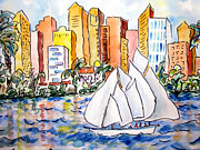 Highrise Painting Posters - Sailing in San Diego Poster by Suzanne Stofer
