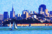 Bank Of America Framed Prints - Sailing In The San Francisco Bay Framed Print by Wingsdomain Art and Photography