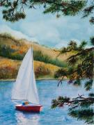 Sailboat Paintings - Sailing by Karen Fleschler