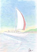 Transportation Pastels Posters - Sailing Poster by Mary Vincent