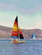 Boats On Water Digital Art Posters - Sailing on a Utah Lake Poster by Steve Ohlsen