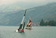Sailing On Lake Thun Switzerland Print by Marilyn Dunlap