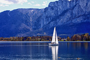 Salzburg Prints - Sailing on Mondsee Lake Print by Lauri Novak