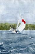 Sail Paintings - Sailing on Niagara River by Melly Terpening