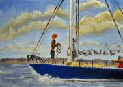 Tim Painting Originals - Sailing on the Bay by Tim Webster