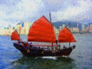 Hong Kong Acrylic Prints - Sailing on the East by Roberto Alamino