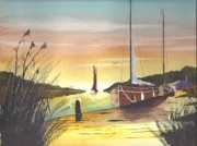 Riverbank Mixed Media Posters - Sailing Out Of The Sunset. Poster by David Bishop