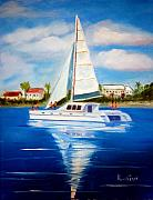 Snorkeling Painting Originals - Sailing Paradise Island Bahamas by Phil Burton