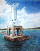 Lighthouse Pastels - Sailing Past the Lighthouse by Terry Jenkins