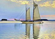 Waterscape Digital Art Framed Prints - Sailing Sailin Away yay yay yay Framed Print by Byron Fli Walker
