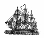 18th Century Prints - SAILING SHIP, 18th CENTURY Print by Granger