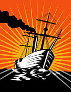 Woodcut Digital Art Posters - Sailing Ship Retro Woodcut Poster by Aloysius Patrimonio