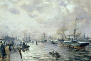 Skies Prints - Sailing Ships in the Port of Hamburg Print by Carl Rodeck