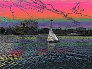 Cyan Digital Art Prints - Sailing South Lake Union Print by Tim Allen