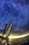Charleston Sunset Framed Prints - Sailing Sunset Beneteau 49 Yacht Framed Print by Dustin K Ryan
