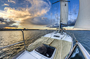 Charleston Sunset Posters - Sailing Sunset Charleston SC Poster by Dustin K Ryan