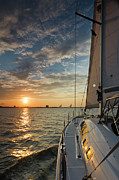 Charters Photos - Sailing Sunset on the Charleston Harbor Beneteau 49 by Dustin K Ryan