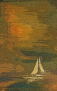 Sailboat Ocean Paintings - Sailing the Julianna by Julie Lueders