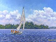 Sailboat Posters - Sailing the Reach Poster by Richard De Wolfe