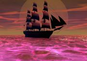 Pirate Ships Digital Art Posters - Sailing Through Poster by Dozo