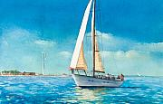 Sailboat Ocean Paintings - Sailing Through the Gut by Laura Lee Zanghetti