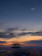Sailing Ship Digital Art Prints - Sailing to the Moon Print by Mike McGlothlen
