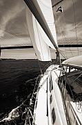 Sepia Acrylic Prints - Sailing Under the Arthur Ravenel Jr. Bridge in Charleston SC by Dustin K Ryan