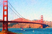 San Francisco Landmarks Digital Art Metal Prints - Sailing Under The Golden Gate Bridge Metal Print by Wingsdomain Art and Photography