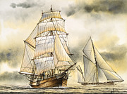Tall Ship Painting Prints - Sailing Vessel ROMANCE Print by James Williamson