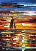 Lighthouse Oil Paintings - Sailing With The Sun by Leonid Afremov