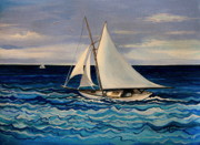 Sailboat Ocean Paintings - Sailing With the Waves by Elizabeth Robinette Tyndall