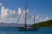 British Virgin Islands Posters - Sailing yacht at anchor Poster by Louise Heusinkveld
