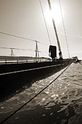 Sepia Acrylic Prints - Sailing Yacht Hanuman J Boat Bow by Dustin K Ryan