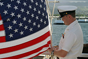 Raising Art - Sailor Raises An American Flag by Stocktrek Images