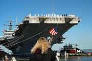 Patriotism Prints - Sailors Aboard Aircraft Carrier Uss Print by Stocktrek Images
