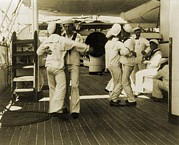 Ballroom Metal Prints - Sailors Aboard The Uss Olympia Waltzing Metal Print by Everett