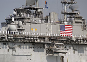 Man The Rails Prints - Sailors Aboard Uss Kearsarge Man Print by Stocktrek Images