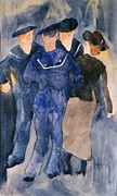 Demuth Framed Prints - Sailors and Girl Framed Print by Pg Reproductions