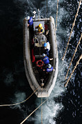 Inflatable Photos - Sailors Conduct A Man Overboard Drill by Stocktrek Images