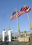 Uniforms Metal Prints - Sailors Conduct Morning Colors Aboard Metal Print by Stocktrek Images