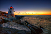 Lighthouse At Sunset Posters - Sailors Delight Poster by Neil Shapiro