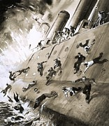 Sailors Prints - Sailors Escaping HMS Natal which Caught Fire in Cromerty Firth in 1915 Print by English School