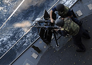 Live Fire Posters - Sailors Fire A Dual-mounted M240 Poster by Stocktrek Images