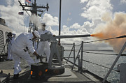 Live Fire Posters - Sailors Fire The 40mm Saluting Battery Poster by Stocktrek Images