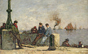 Yacht Paintings - Sailors by Louis Alexandre Dubourg
